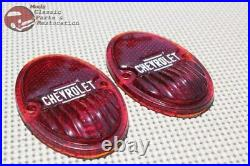 33-36 Chevy Car Pair Of Rear Glass Taillight Tail Light Lamp Lens GM Licensed