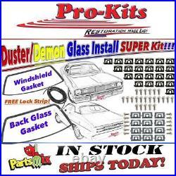 70 71 72-76 Duster, Demon, Dart Sport Windshield & Rear Glass Gaskets W Clips