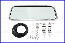 DELUXE REAR SAFARI WINDOW COMPLETE KIT Type 2 Bus 55-63 Stainless Steel Small