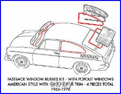 New VW Type 3 Fastback Original Style 4-Piece Window Rubber Kit 1966-1970