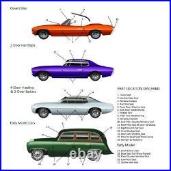 Rear Door Glass Rubber Weather Strip Kit for 68-77 Chevy Corvette LH & RH Side
